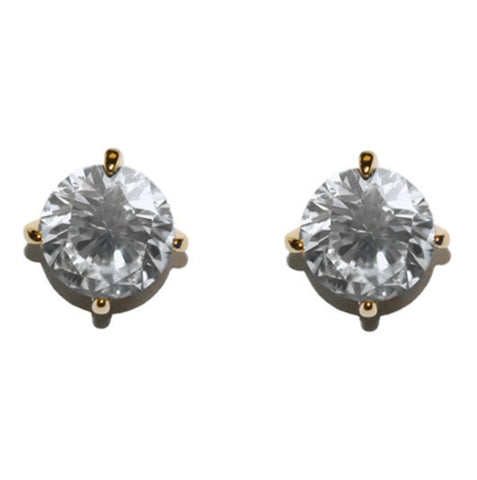 Eulee Round Cut Stud Earrings – 10mm | Cubic Zirconia | Gold