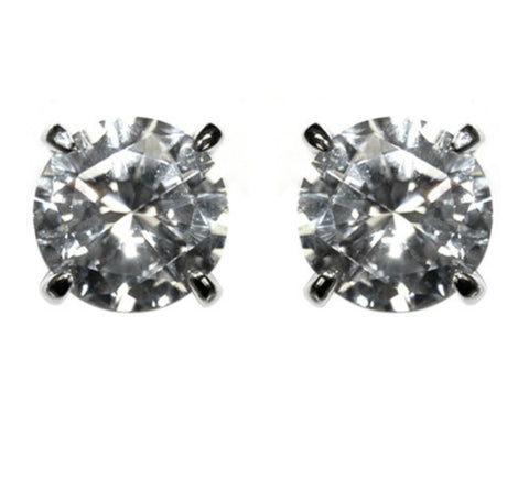 Eulee Round Cut Stud Earrings – 8mm | Cubic Zirconia | Silver