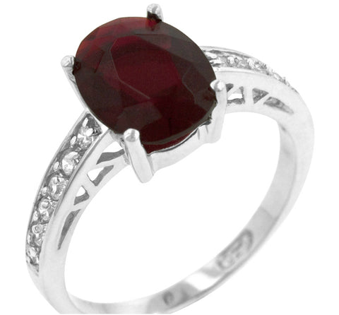 Evelina Ruby Oval Solitaire Engagement Ring | 3ct | Cubic Zirconia | Sterling Silver