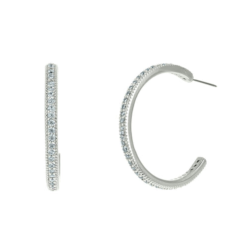 Fanny 20mm CZ Silver Hoop Earrings