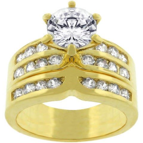Fatima 1(ct) Round Engagement and Wedding Ring Set | 2.5ct | 18k Gold