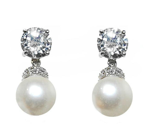 Faye Classic Pearl Drop Dangle Earrings | 2.5ct | Cubic Zirconia | Silver