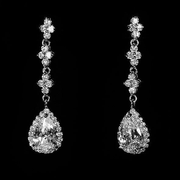 Fiala Romantic Pear Drop Halo Earrings | 6ct | Cubic Zirconia | Silver