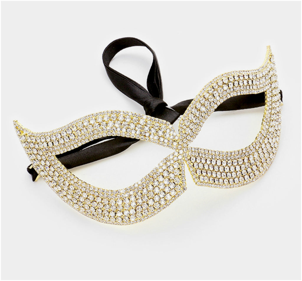 Filipia Custer Cat Eye Masquerade Mask | Gold | Crystal - Beloved Sparkles