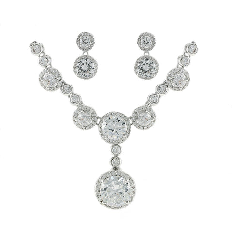 Fiona CZ Divine Dangle Necklace Set