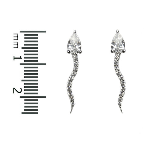 Flavia Snake CZ Stud Earrings | Cubic Zirconia | Silver
