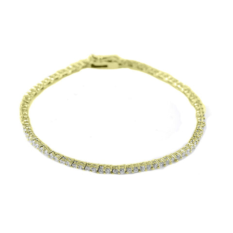 Flossie Double Round CZ Gold Tennis Bracelet – 7in  | 5ct