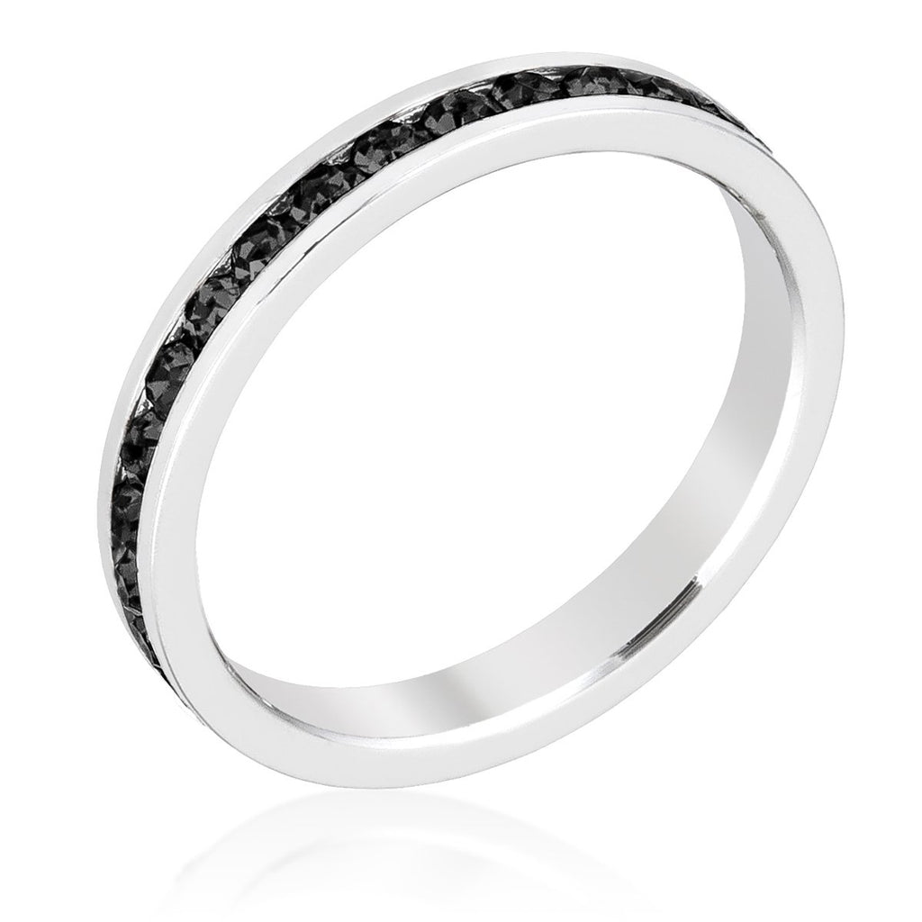 Gail Black Eternity Stackable Wedding Ring | 1 Carat | Crystal - Beloved Sparkles  - 1