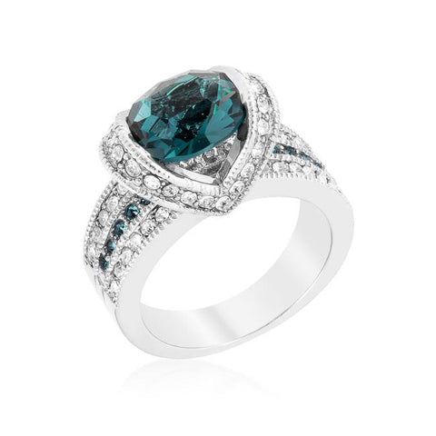 Garett Vintage Deep Blue Oval Cut Engagement Ring | 2.8ct