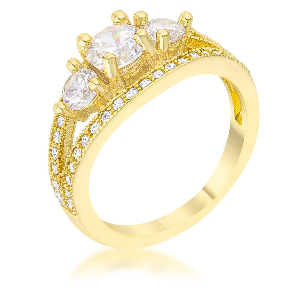 Geneviere 1(ct) Round Three Stone Gold Engagement Ring | 2.2ct | 14k Gold