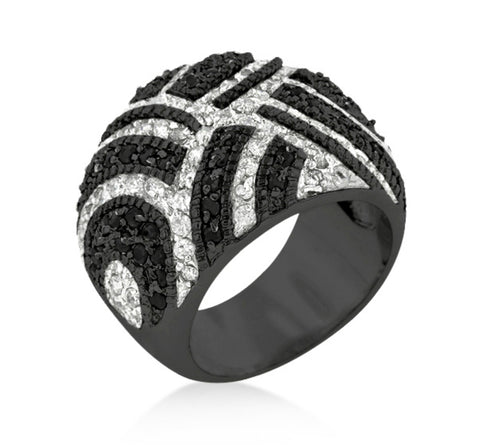 Gennese Black Hematite Cocktail Band Ring | 8ct | Cubic Zirconia