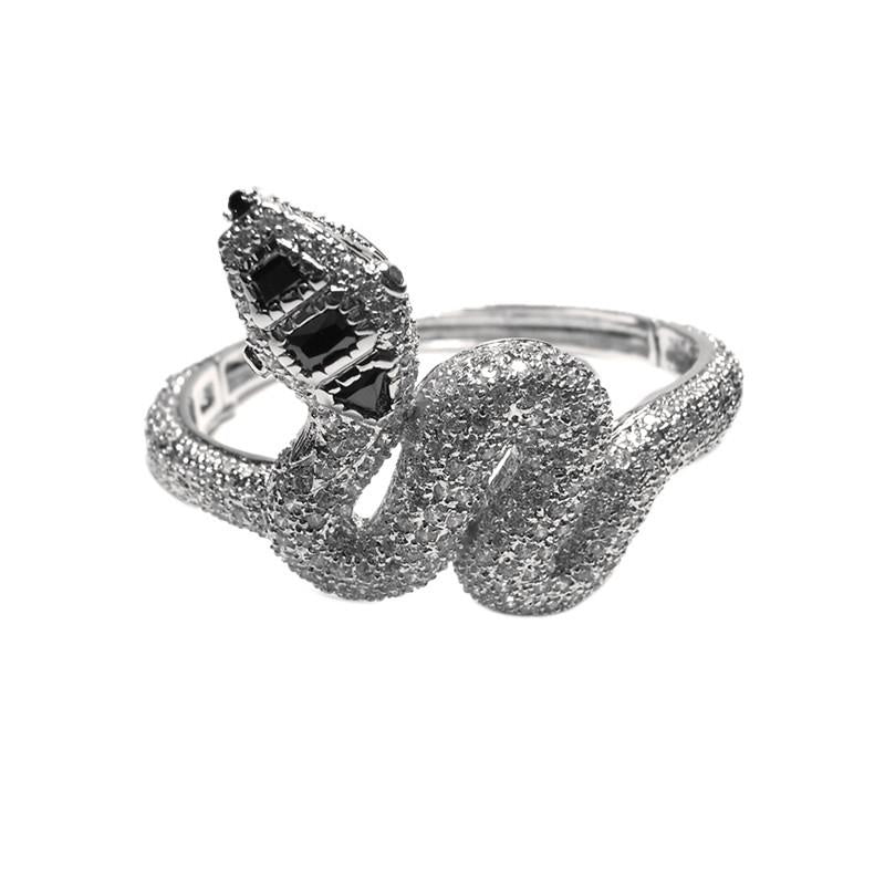 Ghiana CZ Snake Statement Bangle Bracelet