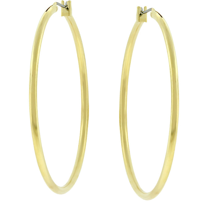 Glem Classic Large Golden Hoop Earrings - 45mm