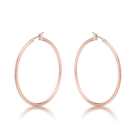 Glem Classic Large Rose Gold Hoop Earrings - 45mm