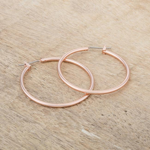 Glem Basic Rose Gold Hoop Earrings - 38mm