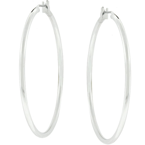Glem Classic Large Silvertone Hoop Earrings - 45mm