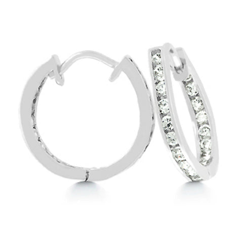Glynis Inside Out Huggie Earrings | 0.75ct | Cubic Zirconia | Silver