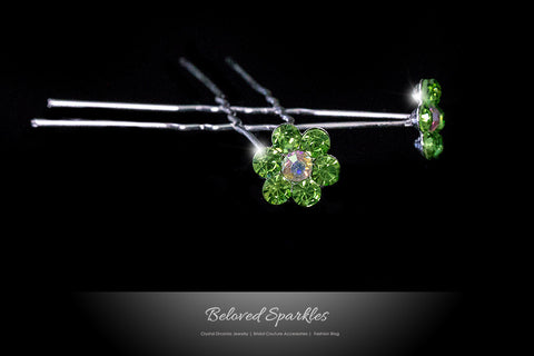 Stella-1 Peridot Green Flower Hair Stick Pin | Rhinestone