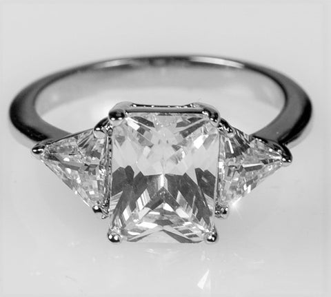Gretchen 3(ct) Radiant Cut Three Stone Cocktail Ring  | 4.5ct