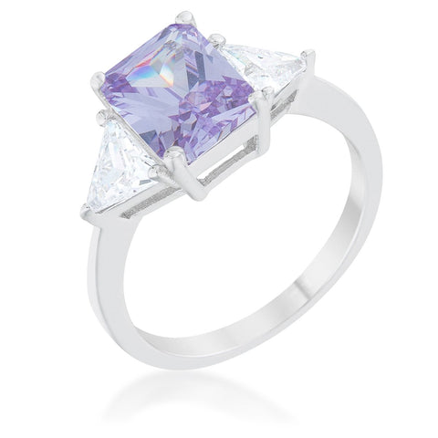 Gretchen Lt Amethyst Radiant Cut Three Stone Cocktail Ring  | 4.5 Carat | Cubic Zirconia - Beloved Sparkles
