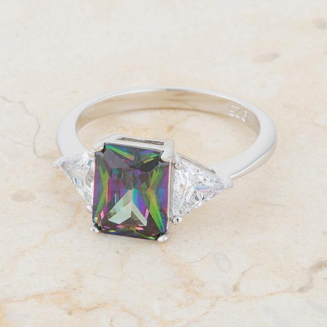 Gretchen Mystic Radiant Cut Three Stone Cocktail Ring  | 4.5 Carat | Sterling Silver | Cubic Zirconia - Beloved Sparkles