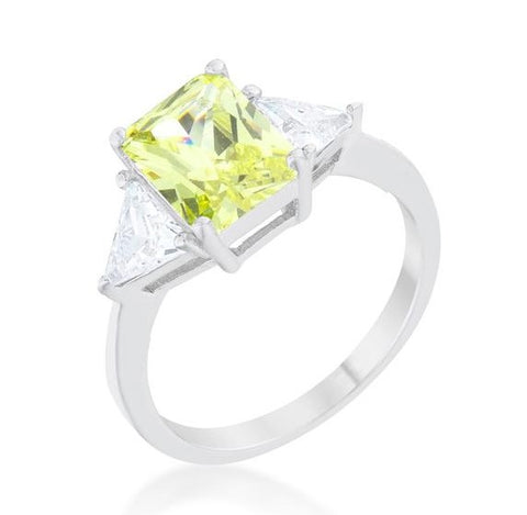 Gretchen 3ct Peridot Radiant CZ Cocktail Ring | 4.5ct