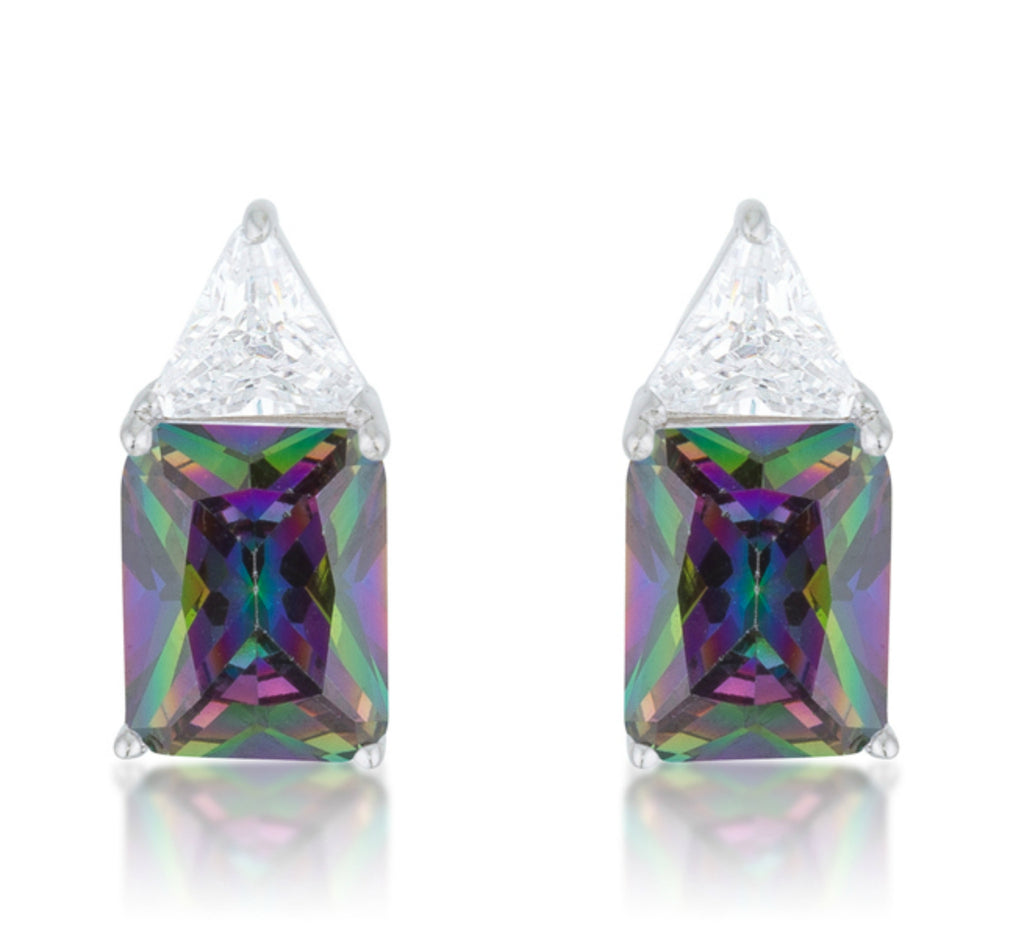 Gretchen Mystic Radiant Cut Stud Earrings | 4ct