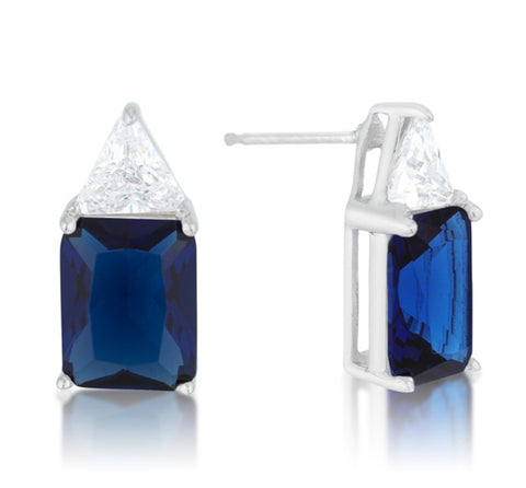 Gretchen Sapphire Radiant Cut Stud Earrings | 4ct | Sterling Silver