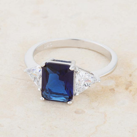Gretchen Sapphire Radiant Cut Three Stone Cocktail Ring  | 4.5ct