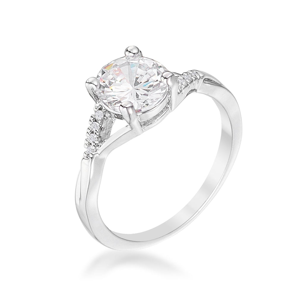 Grizel Silvertone Simple CZ Engagement Ring | 1.3ct