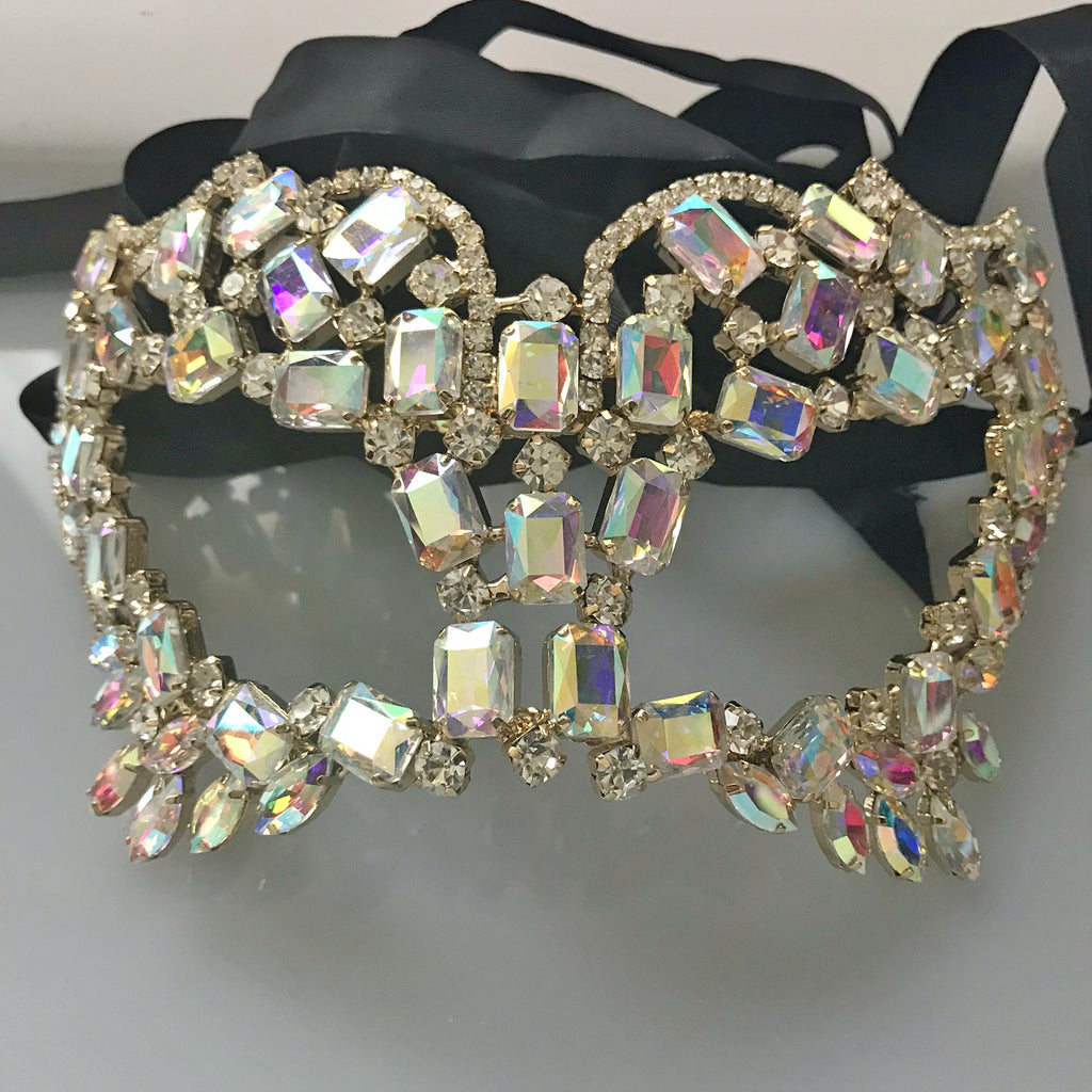 Gusta Radiant Cluster Statement Masquerade Mask | AB Crystal | Gold