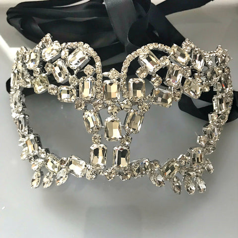 Gusta Radiant Cluster Statement Masquerade Mask | Crystal | Silver