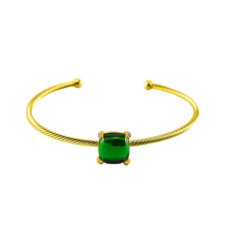 Habbai Emerald Cushion CZ Gold Cable Bracelet