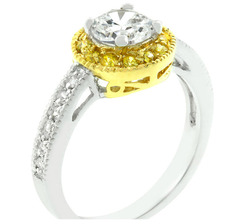 Hagar Round Halo Two-Tone Engagement Ring | 2.5ct | Cubic Zirconia | 18K Gold | Silver