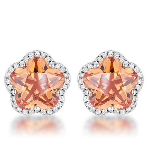 Hagir Floral Cut Champagne CZ Stud Earrings | Cubic Zirconia | Silver