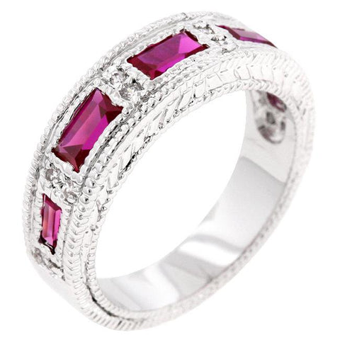 Halle Ruby Red Bezel Eternity Band Ring | 3 Carat | Cubic Zirconia