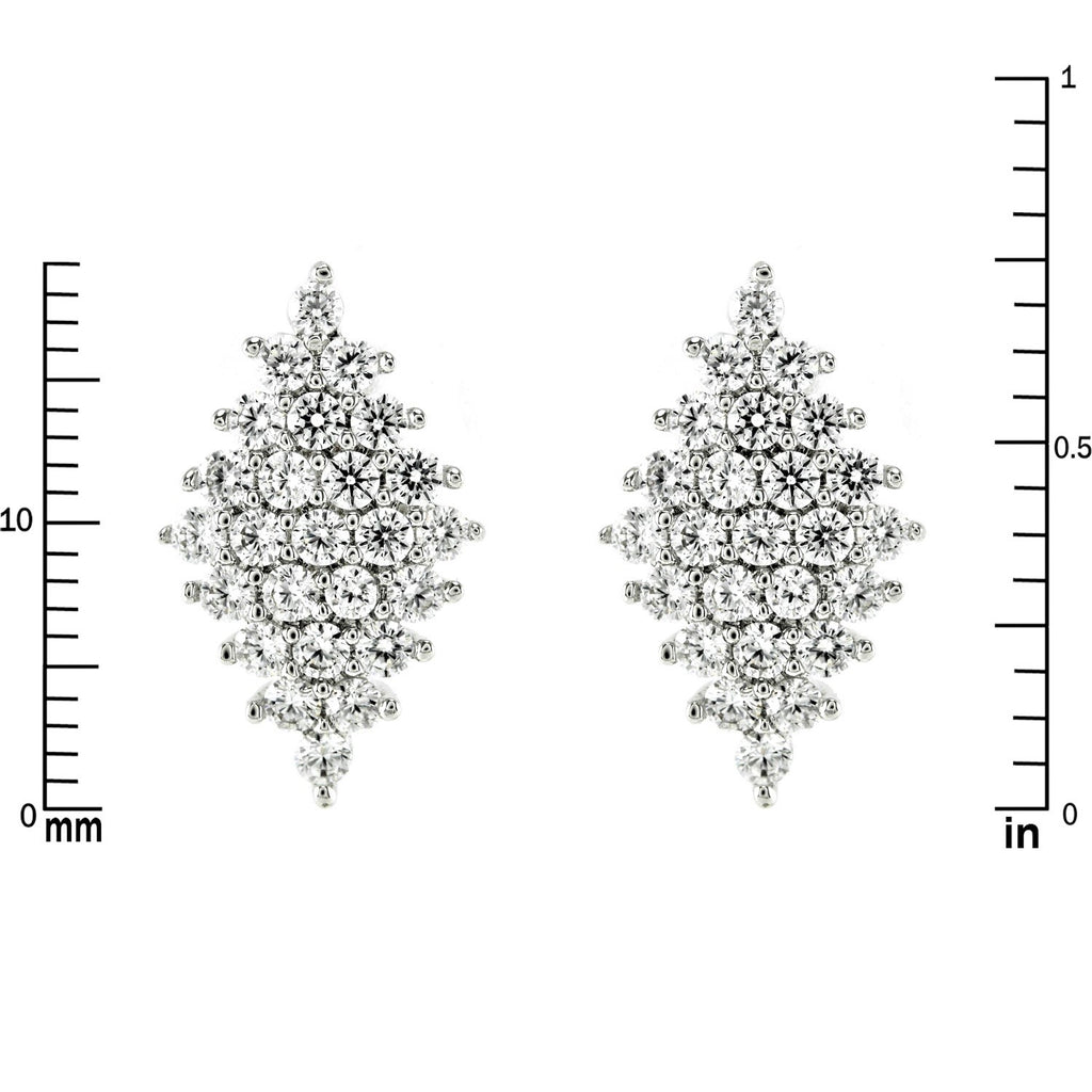 Harlie Diamond Shape Cluster CZ Stud Earrings | Cubic Zirconia | Silver