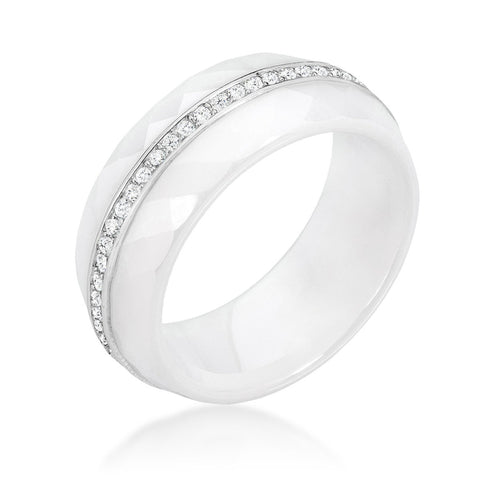 Hatela White Ceramic  Cocktail Band Ring | 1 Carat | Cubic Zirconia  | Sterling Silver - Beloved Sparkles  - 2