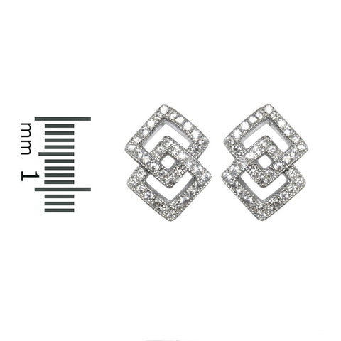 Hedy Double Square Stud Earrings | Cubic Zirconia | Silver