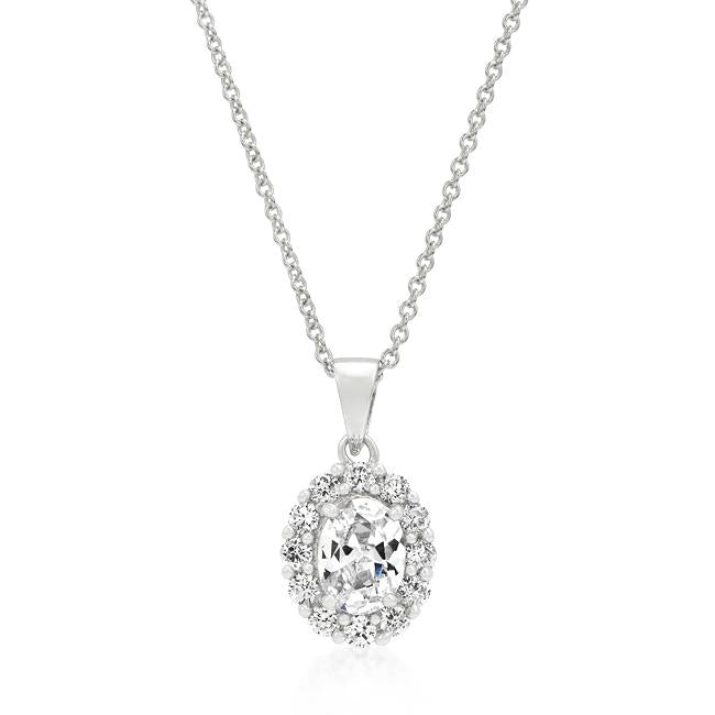 Kira Oval Halo CZ Pendant Necklace | 1.8ct