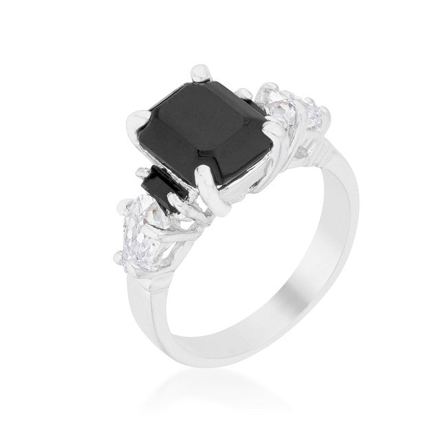 Helanna Black Onyx Emerald CutThree Stone Cocktail Ring  | 5 Carat | Cubic Zirconia - Beloved Sparkles  - 1
