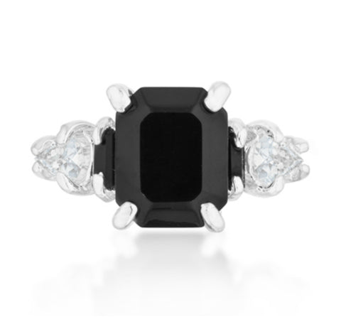 Helanna Black Onyx Emerald CutThree Stone Cocktail Ring  | 5 Carat | Cubic Zirconia - Beloved Sparkles  - 2