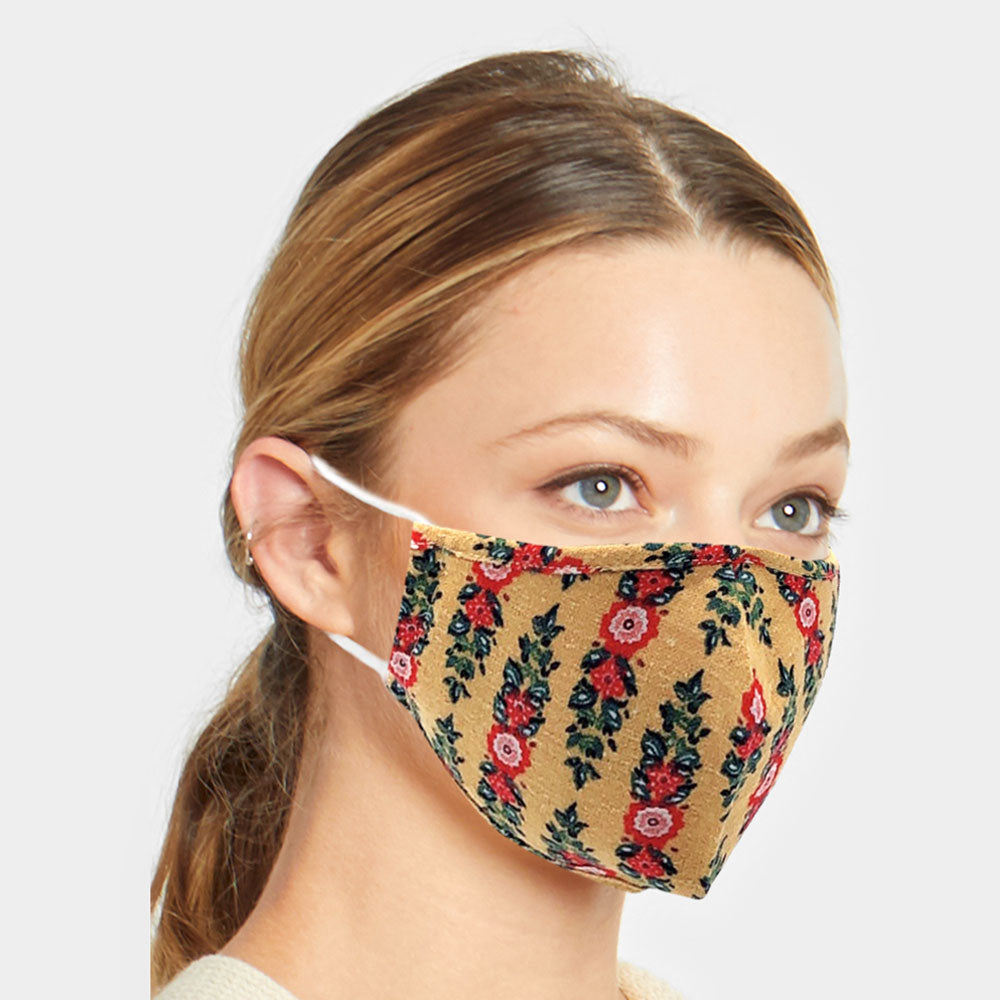 Helen Mustard Flower Leaf Fashion Mask