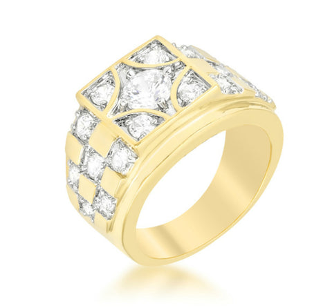 Herman Checkerboard Gold  Men Ring | 3ct | Cubic Zirconia | 18k Gold