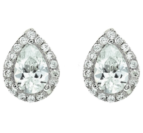 Camille Pear Cut CZ Stud Earrings | Cubic Zirconia | Silver