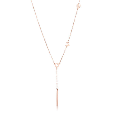 Hilary Stainless Steel Rose Goldtone Love Necklace