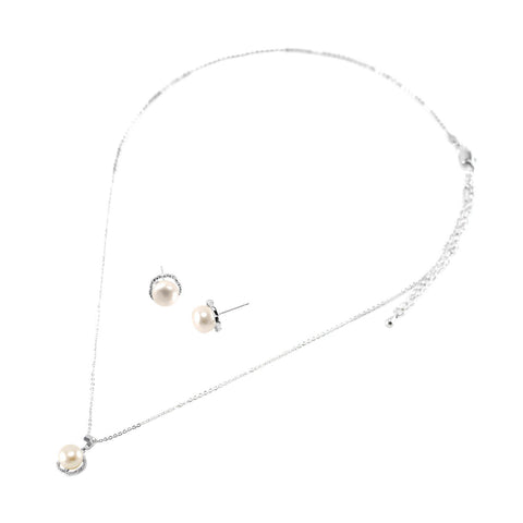 Holda Pearl Halo Pendant Necklace and Earrings Set