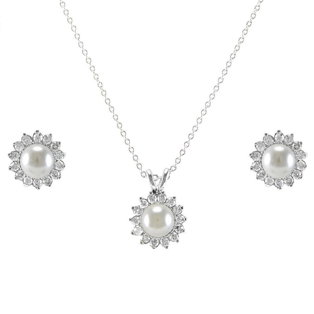 Holdi CZ White Pearl Pendant Necklace and Earrings Set