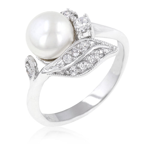 Holly Classic Freshwater Pearl Ring | 0.8ct | Cubic Zirconia