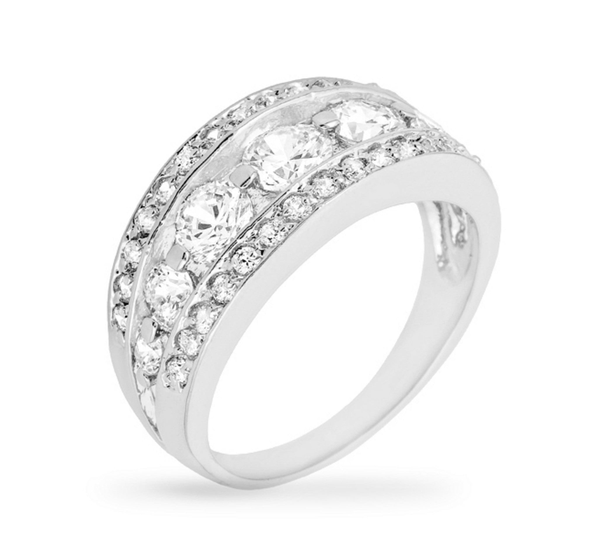 womens products half ring silverly silver cz lines bands sterling eternity cut round pave zirconia band cubic thick